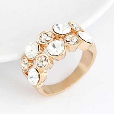 Diaper White Double Layer Sparkly Diamond Decorated Alloy Korean Rings