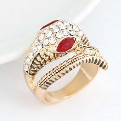 Misses Gold Color Lucky Snake Simple Design Alloy Korean Rings