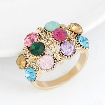 Coral Multicolor Sparkly Gemstone Decorated Design Alloy Korean Rings