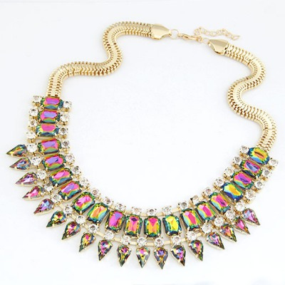 Beaded Multicolor Rivet Shape Gemstone Pendant Design Alloy Bib Necklaces