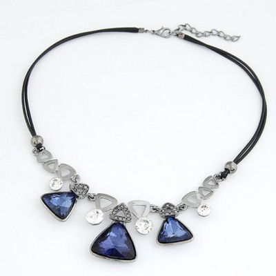 Circle Purple Triangle Shape Gemstone Decorated Design Alloy Bib Necklaces