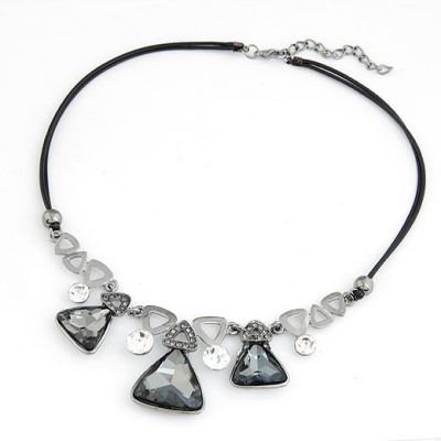 High Gray Triangle Shape Gemstone Decorated Design Alloy Bib Necklaces