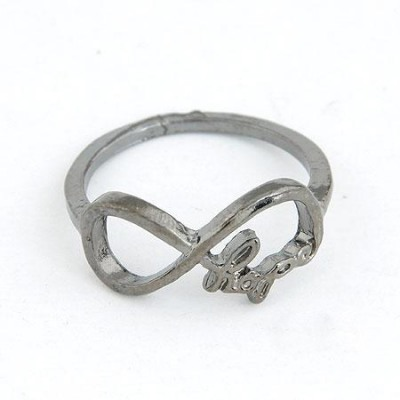 Corporate Gun Black Vintage Lucky Digital 8 Design(Letters Will Be Random) Alloy Korean Rings