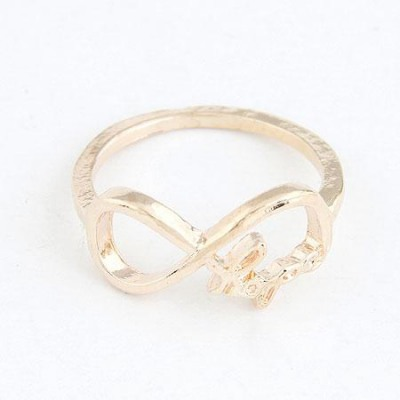 Stainless Gold Color Vintage Lucky Digital 8 Design(Letters Will Be Random) Alloy Korean Rings