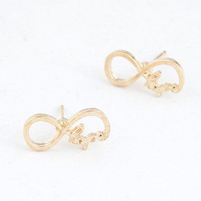 New Gold Color Vintage Lucky Digital 8 Design(Letters Will Be Random) Alloy Stud Earrings