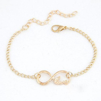Lightest Gold Color Lucky Digital 8 Decorated Design(Letters Will Be Random) Alloy Korean Fashion Bracelet