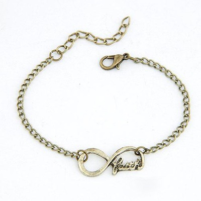 Plaid Antique Gold Lucky Digital 8 Decorated Design(Letters Will Be Random) Alloy Korean Fashion Bracelet
