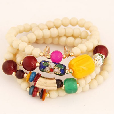 Layered Beige Four Layers Lucky Beads Design Alloy Korean Fashion Bracelet