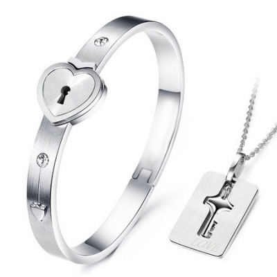Teen Silver Color Lovers Key Concentric Lock Titanium Jewelry Sets