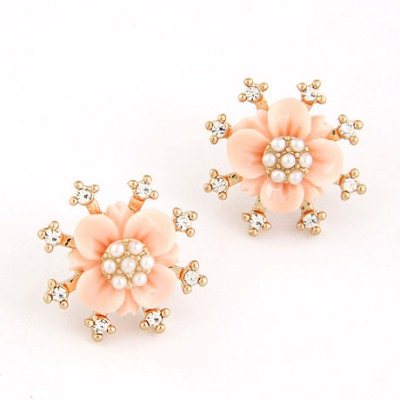 Toddler Pink Sparkly Diamond Flower Design Alloy Stud Earrings