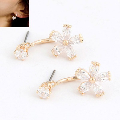 Magic White Flower Shape Pendant Design Cuprum Zircon Stud Earrings