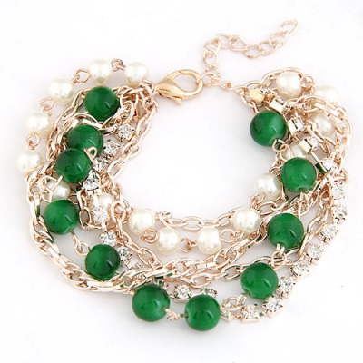 Reflective Dark Green Beads Decorated Multilayer Chain Design Alloy Korean Fashion Bracelet