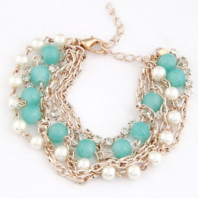 High Light Blue Beads Decorated Multilayer Chain Design Alloy Korean Fashion Bracelet