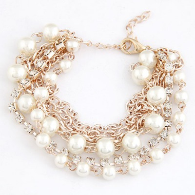 Mustard White Beads Decorated Multilayer Chain Design Alloy Korean Fashion Bracelet