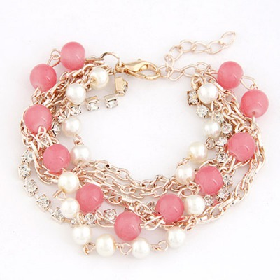 Modest Watermelon Red Beads Decorated Multilayer Chain Design Alloy Korean Fashion Bracelet
