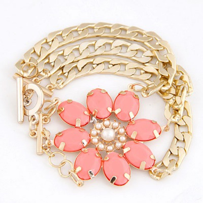 Postal Watermelon Red Lucky Flower Decorated Multilayer Metal Chain Design Alloy Korean Fashion Bracelet