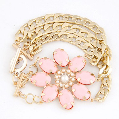 Display Pink Lucky Flower Decorated Multilayer Metal Chain Design Alloy Korean Fashion Bracelet