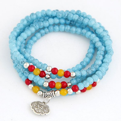 Packaging Blue Lucky Lock Decorated Beads Weave Design Glass Korean Fashion Bracelet