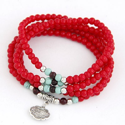 Fitness Red Lucky Lock Decorated Beads Weave Design Glass Korean Fashion Bracelet