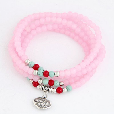 Madewell Pink Lucky Lock Decorated Beads Weave Design Glass Korean Fashion Bracelet