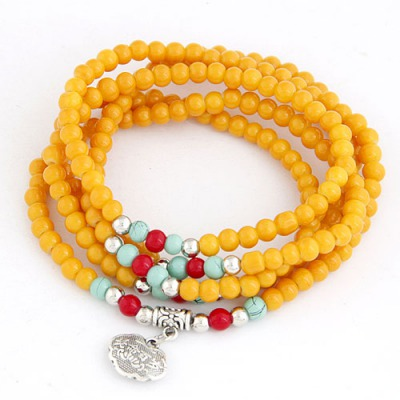 Woolrich Ginger Lucky Lock Decorated Beads Weave Design Glass Korean Fashion Bracelet