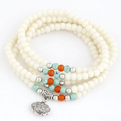 Amethyst Beige Lucky Lock Decorated Beads Weave Design Glass Korean Fashion Bracelet