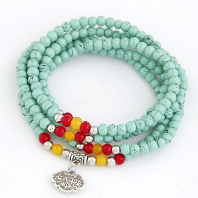 Pagan Light Green Lucky Lock Decorated Beads Weave Design Glass Korean Fashion Bracelet