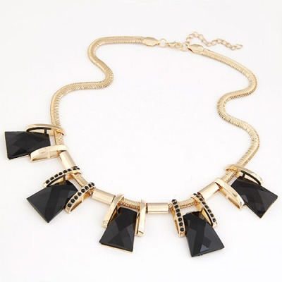 Rhinestone Black Trapezoidal Gemstone Decorated Design Alloy Bib Necklaces