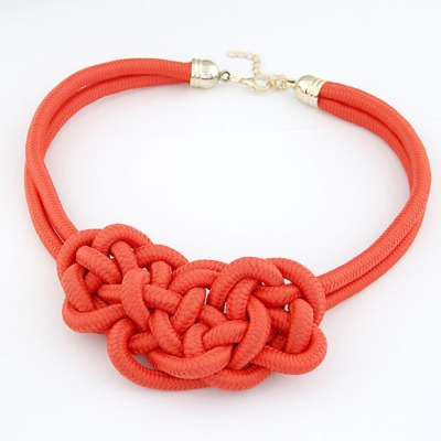 Concealed Watermelon Red Double Layers Hand-Made Weave Design Alloy Multi Strand Necklaces