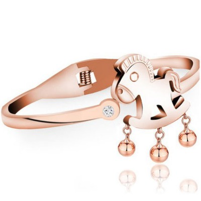 Rubber Rose Gold Auspicious Foal With Bells Decorated Titanium Fashion Bangles