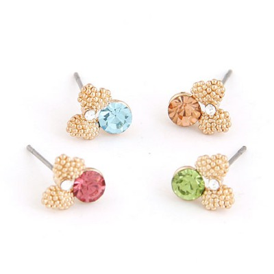 Satchel Multicolor Sweet Bowknot Decorated Design Alloy Stud Earrings