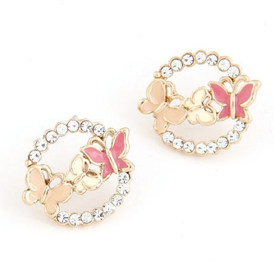 Synthetic Multicolor Butterfly Decorated Round Shape Design Alloy Stud Earrings