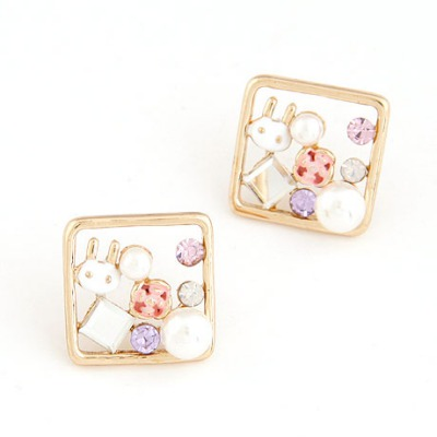 Real Gold Color Cartoon Rabbit Decorated Square Shape Design Alloy Stud Earrings