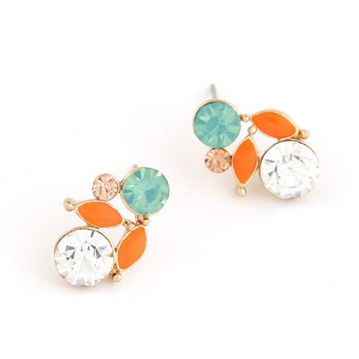Unique Orange Leaf Shape Gemstone Decorated Design Alloy Stud Earrings