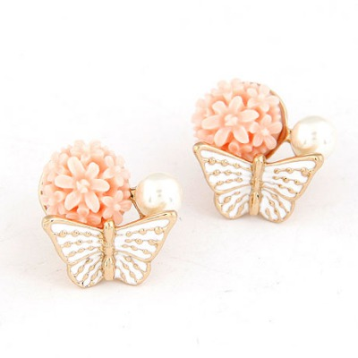 Rubber White Butterfly Kisses Flower Sweet Design Alloy Stud Earrings