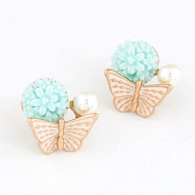Rhinestone Pink Butterfly Kisses Flower Sweet Design Alloy Stud Earrings