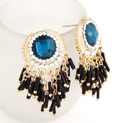 Stainless Sapphire String Curtain Pendant Design Alloy Stud Earrings