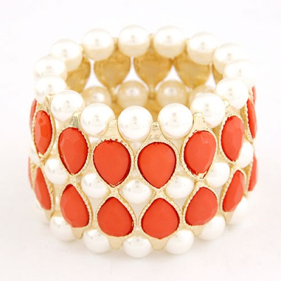 Catholic Red Water Drop Shape Gemstone Decorated Wide Design Alloy Korean Fashion Bracelet