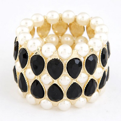 Mexican Black Water Drop Shape Gemstone Decorated Wide Design Alloy Korean Fashion Bracelet