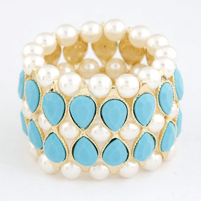 Daisy Blue Water Drop Shape Gemstone Decorated Wide Design Alloy Korean Fashion Bracelet