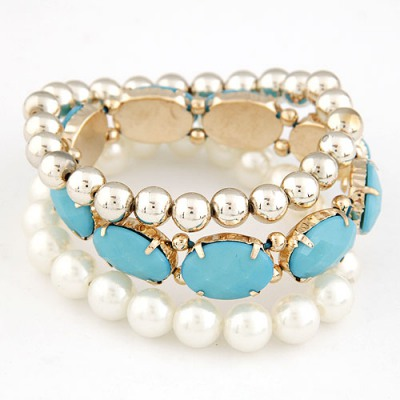Huge Blue Gemstone Pearl Decorated Elastic Design Alloy Fashion Bangles