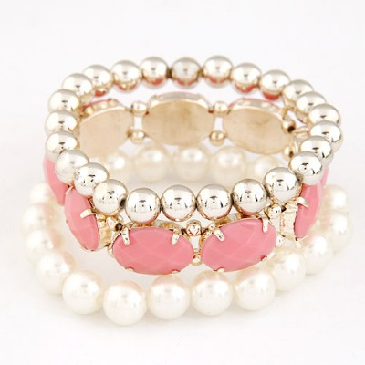Screw Watermelon Red Gemstone Pearl Decorated Elastic Design Alloy Fashion Bangles