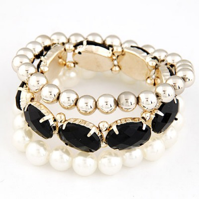 Executive Black Gemstone Pearl Decorated Elastic Design Alloy Fashion Bangles