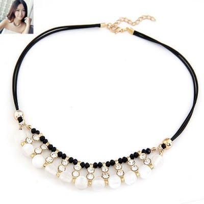Classic White Double Layers Sparkling Diamond Decorated Design Alloy Beaded Necklaces
