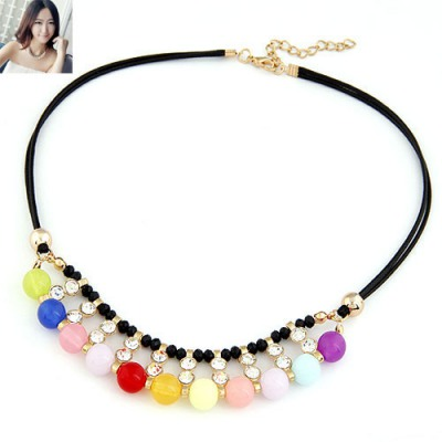 Bridesmaid Multicolor Double Layers Sparkling Diamond Decorated Design Alloy Chains