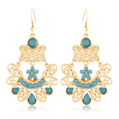 Unique Blue Bohemian Style Hollow Out Metal Design Alloy Korean Earrings