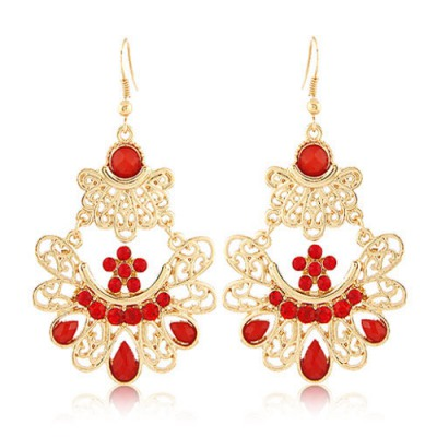 Affinity Red Bohemian Style Hollow Out Metal Design Alloy Korean Earrings