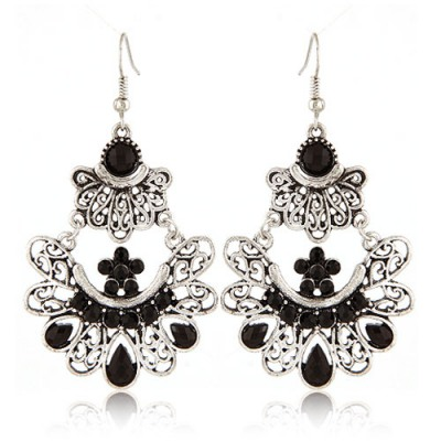 Reflective Black Bohemian Style Hollow Out Metal Design Alloy Korean Earrings