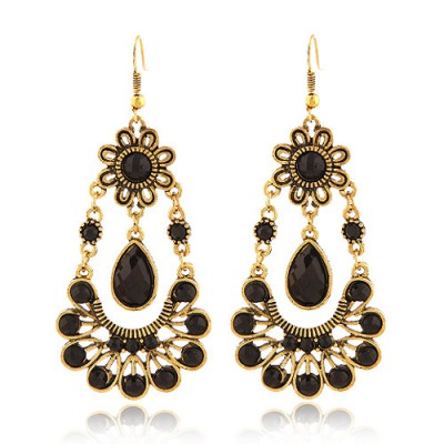 Monogramme Black Vintage Sunflower With Water Drop Design Alloy Korean Earrings