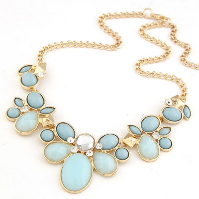 Rhinestone Light Blue gemstone flower Decorated Alloy Bib Necklaces